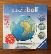 New Sealed Ravensburger 3d Puzzleball The Earth World Globe 540pc With Stand