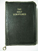 1917 Beautiful Pocket The Holy Scriptures Zippered And Leather Like Mini Bible Jps