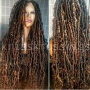 Full Lace 36inch+ Human Hair Blend Infinity Loc Wig Colors Optional