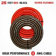 1/0 Gauge Wire Red/black Amplifier Power/ground Amp Wire 20 Feet Cable Roll