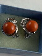 Chantecler Capri Red Coral And Diamond Clip On 18k White Gold Earrings