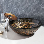 Bathroom Artistic Glass Vessel Sink Waterfall Faucet With Pop-up Drain Combo