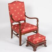 Mahogany Empire Style Arm Chair With Footstool Ottoman W Red Dragonfly Fabric