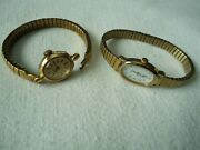 Vintage Used Women 2 Timex Wrist Watches Bands Expand Gold Color