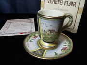 Veneto Flair Cup And Saucer Hand Etched And Painted In Italy, Signed,c1980 7