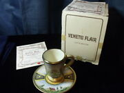 Veneto Flair Cup And Saucer Hand Etched And Painted In Italy, Signed,c1980 23