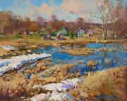 In The Spring Of Space Landscape By Yurgin Original Oil Painting Russian 16x20