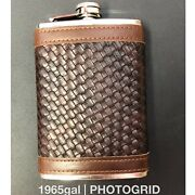 Leather Wrapped 8 Oz Stainless Steel Flask Brown Basket Weave Stamp