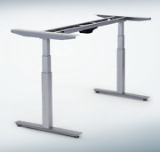 Electric Adjustable Height Standing Office Desk Legs Base Frame Dual Motors Gray
