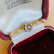 Victorian 18ct/18k Gold Diamond And Pearl Lucky Horse Shoe Brooch Circa 1890