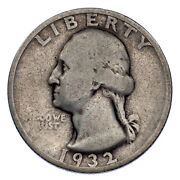 1932-s 25c Washington Quarter Fine Condition All Letters Clear From Rims