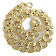 Italian Wide Open Link Chain Necklace 14k Yellow Gold 18 Inches 26.62 Grams