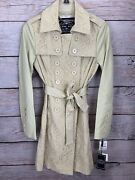 Blanc Noir Nwt Cream Coat Lace Lined Pockets Belt Stretch Womenand039s Size Xs