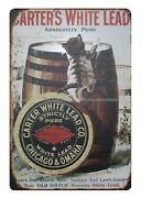 1910 Carterand039s White Lead Paint Cat Barrel Metal Tin Sign Love Wall Picture