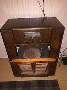 Gorgeous Early 1900andrsquos Montgomery Ward Record Player / Radio Combo Cabinet