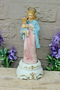 Vintage French Religious Porcelain Madonna With Child Music Box Figurine Statue