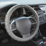 New Premium Genuine Leather Car Truck Grey Steering Wheel Cover - Small Size