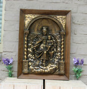Antique French Copper Embossed Madonna Child Relief Plaque Framed Religious