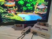 Super Nintendo Snes Console + Donkey Kong Country Diddy Kong Controllers Works