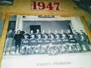 Antique 1947 Athletes Black And White Photo With Literature Swimmers In Gymnastics