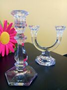 Vtg Crystal Candle Holder Candlestick Elegant Glass Decor Romantic Dinner Euc