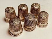 6 Vintage Sterling Thimble Star Marked Inside Id. Number Lot Of 6 Total
