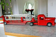 Vintage 1950s Structo S. F. D. Fire Car Truck With Extra 2 Ladders