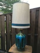 Huge Mid Century Modern Turquoise Drip Glaze Table Lamp With Original Shade