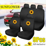 9pcs Universal Car Cover Seat Protector Front Rear Covers Sun Flower Pattern Set