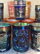 Mixed Lot Of 31 Antique Carnival Glass Tumblers Ca. 1900 Awesome Colors And Design