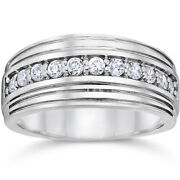 0.50 Carat Real Diamond Engagement Rings 14k Solid White Gold Menand039s Bands 9