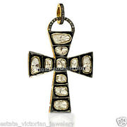 2.92cts Real Rose Antique Cut Diamond Silver Vintage Style Cross Pendant Jewelry
