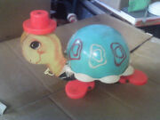 Vintage Fisher Price Turtle Pull Toy 1962 Turquiose 773