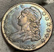 1833 Capped Bust Half Dollar Xfawesome Toning W/ Planchet Error Flaw Old Cln