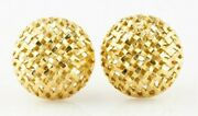 Gorgeous 18k Yellow Gold Basketweave Mesh Dome Huggie Earrings With Omega Backs