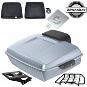 Brilliant Silver Chopped Tour Pack Black Hinges And Latch For 1997-2020 Harley