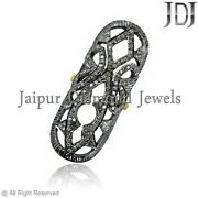 Handmade Pave Diamond Full Finger Knuckle Ring 925 Silver Vintage Style Jewelry