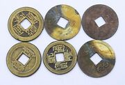 6 Antique Chinese Copper Bronze Coins