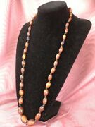 Rare Beautiful Antique Chinese /oriental Horn Oval Beads Necklace 1
