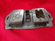 Vintage Asian Cigarette Set With Tray Match Box Ash Tray Lighter Stand Pre-owned