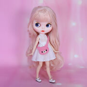 Blythe Nude Doll From Factory Light Pink Curly Long Hair With Make-up Eyebrow