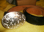 New Collectible Montana Silver Belt Buckle And Justin Black Leather Belt Western