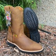 Menand039s Work Boots Genuine Leather Pull On Camel Color Safety Western Botas Round