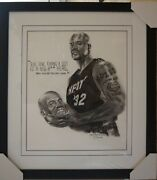 Shaquille Oand039neal Nba Original Painting By Robert Stephen Simon 31x 35 Framed