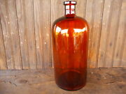 Amber Vintage Large Apx 13.5 Tall Apothecary Bottle Jar Without Stopper