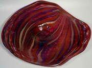 28 Hand Blown Glass Wall Or Table Platter, Dirwood Glass, Deep Red, N1679
