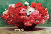 Jar With Flowers. Oil. Signed. Genis Capdevila. Spain. Principle Xx Century
