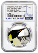 Silver Plated 2016 Tanzania 100 Shillings Wwf Emperor Penguin Ngc Pl69 Er Color