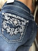 Wallflower Luscious Curvy Bling Flap Pocket Mid Rise Bootcut Jeans Size 11 New