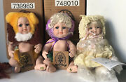"""Nib Lot Of 3 Tiny 7"""" Porcelain Baby Dolls By Classic Creations And Jeannie Dimauro"""